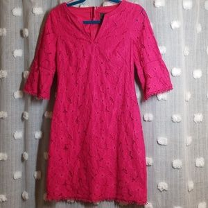 Adrianna Papell Pink Eyelet Shift Dress Size 2